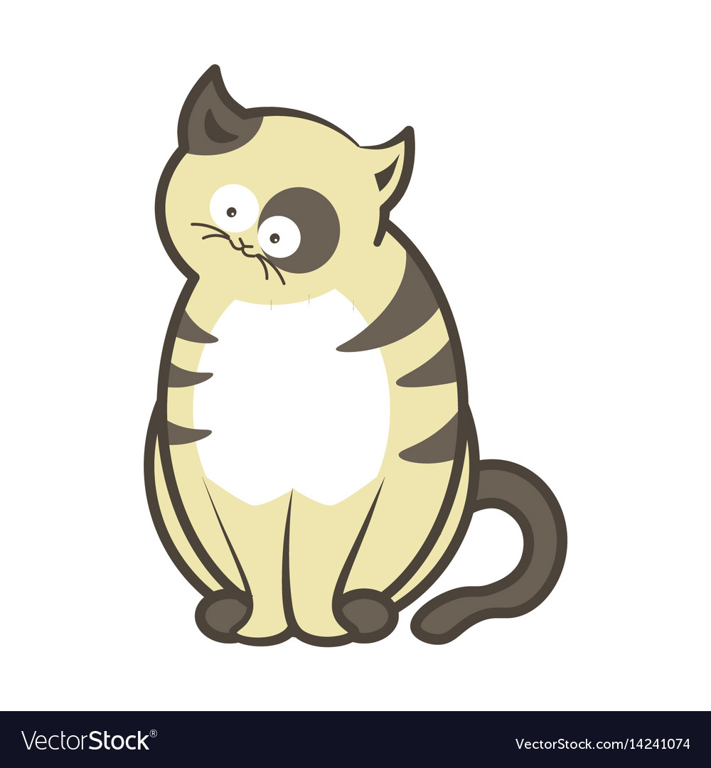 Cartoon cat kitten sitting flat icon