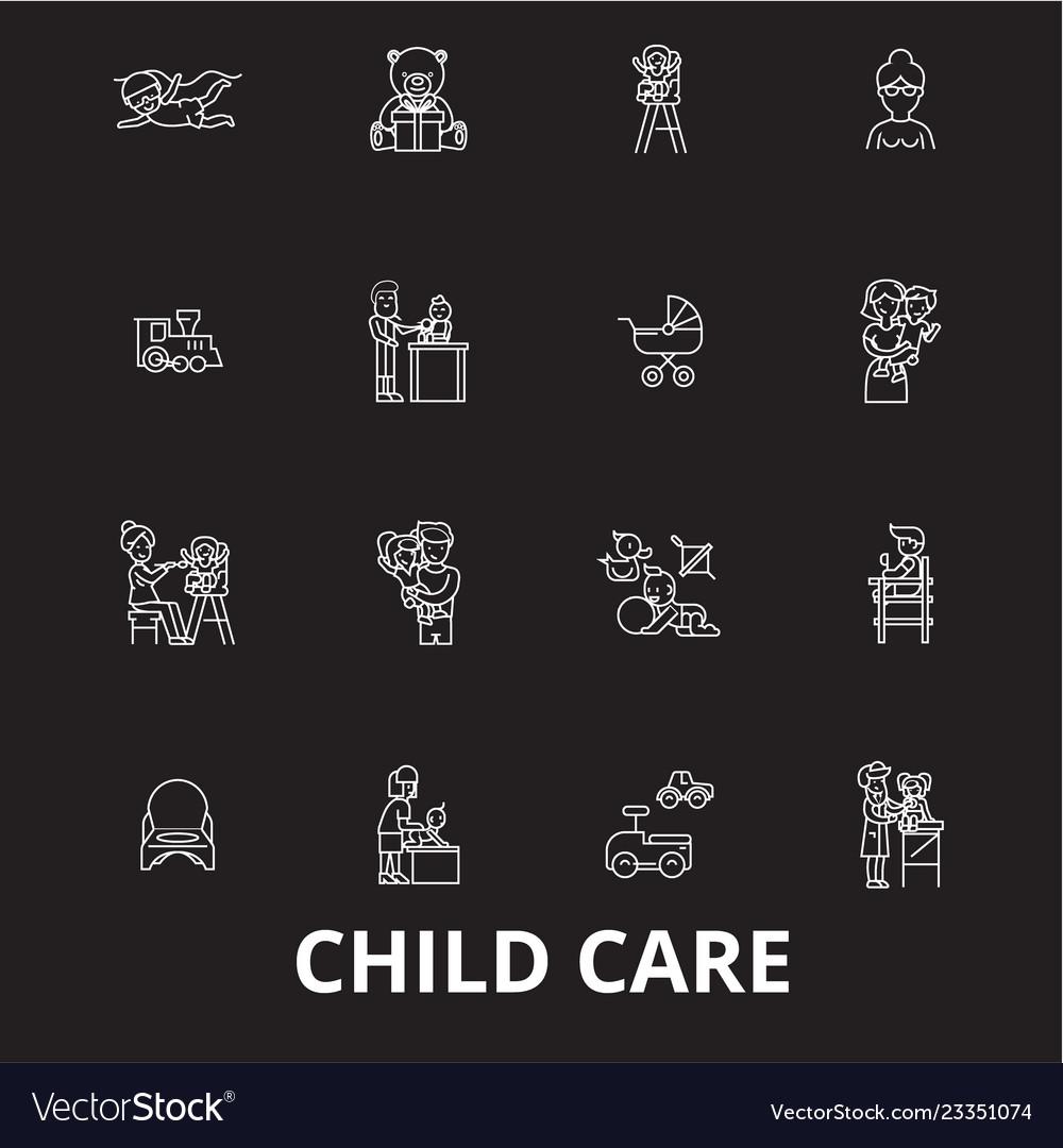 Child care editable line icons set on black