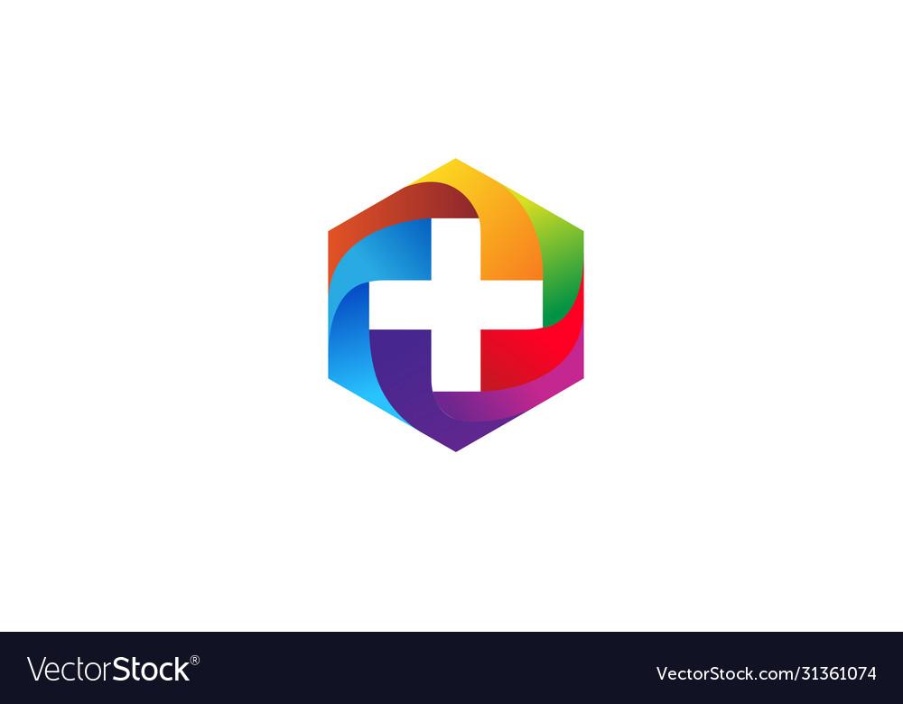 Colorful geometric hexagon medical head logo
