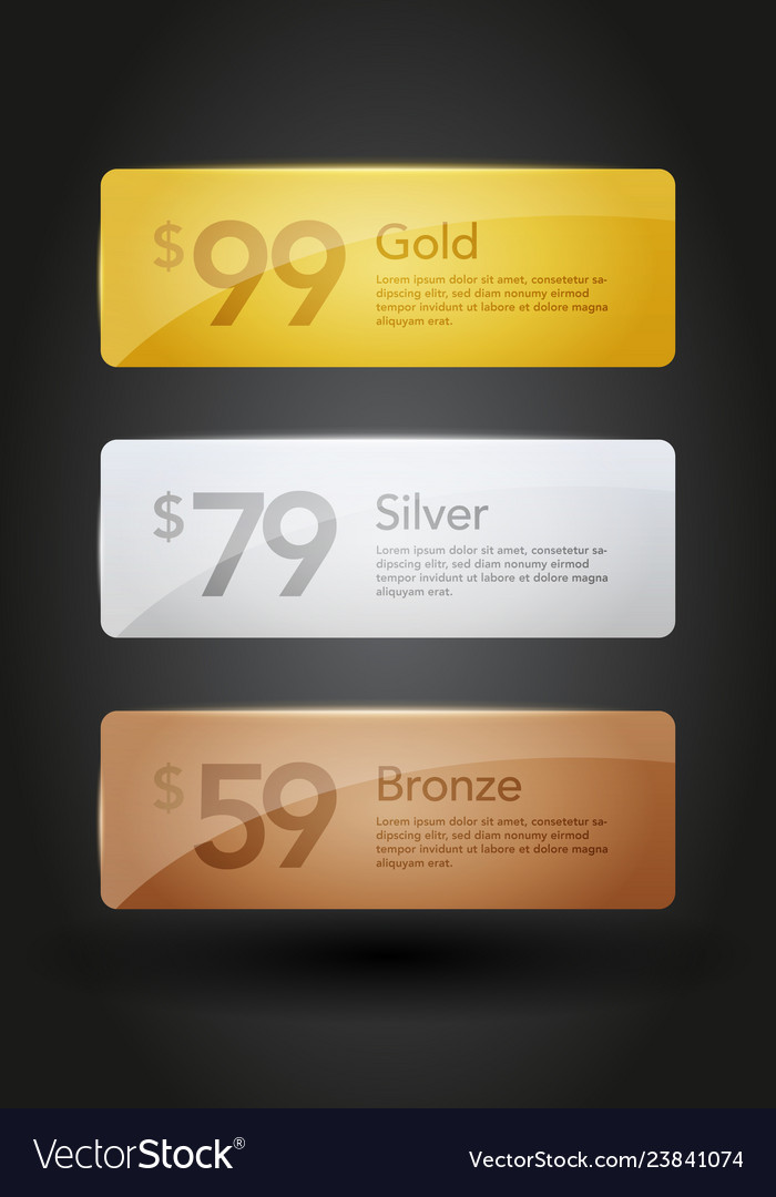 Gold silver and bronze web site buttons templates