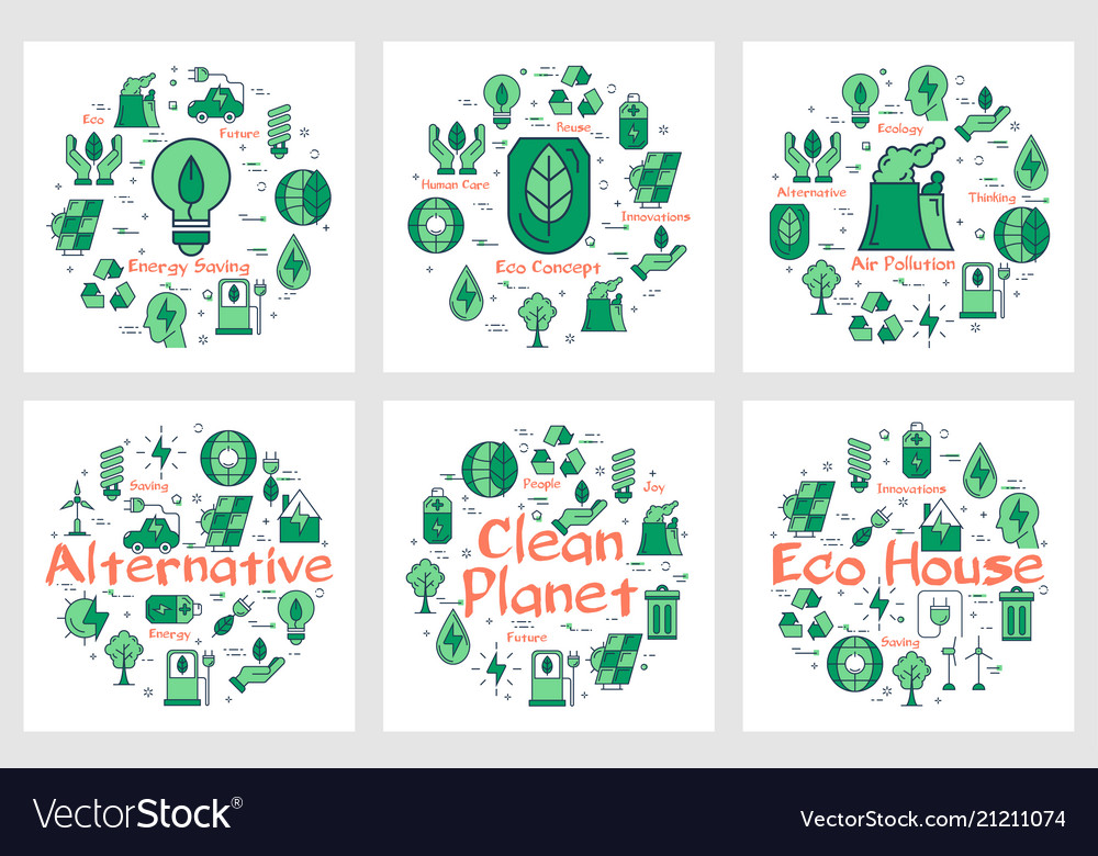Green eco concept icons in collection