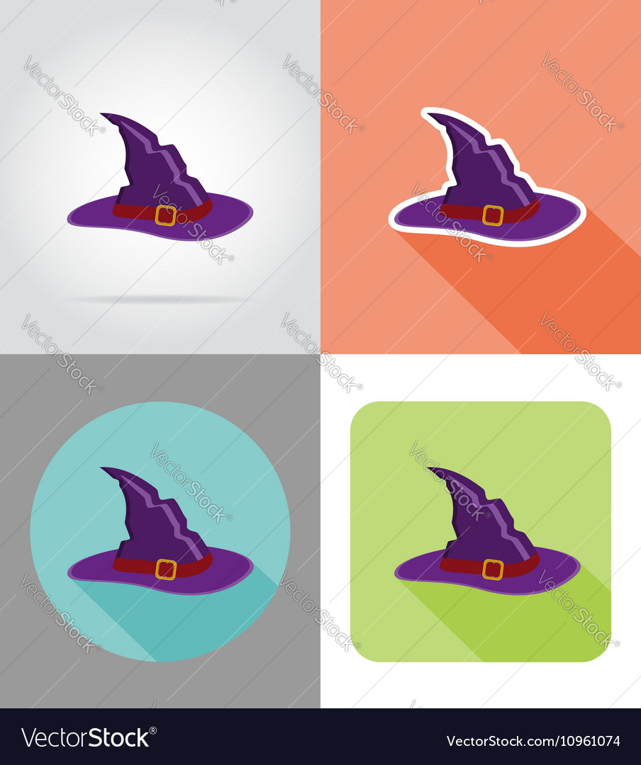 Halloween flat icons 13 vector image