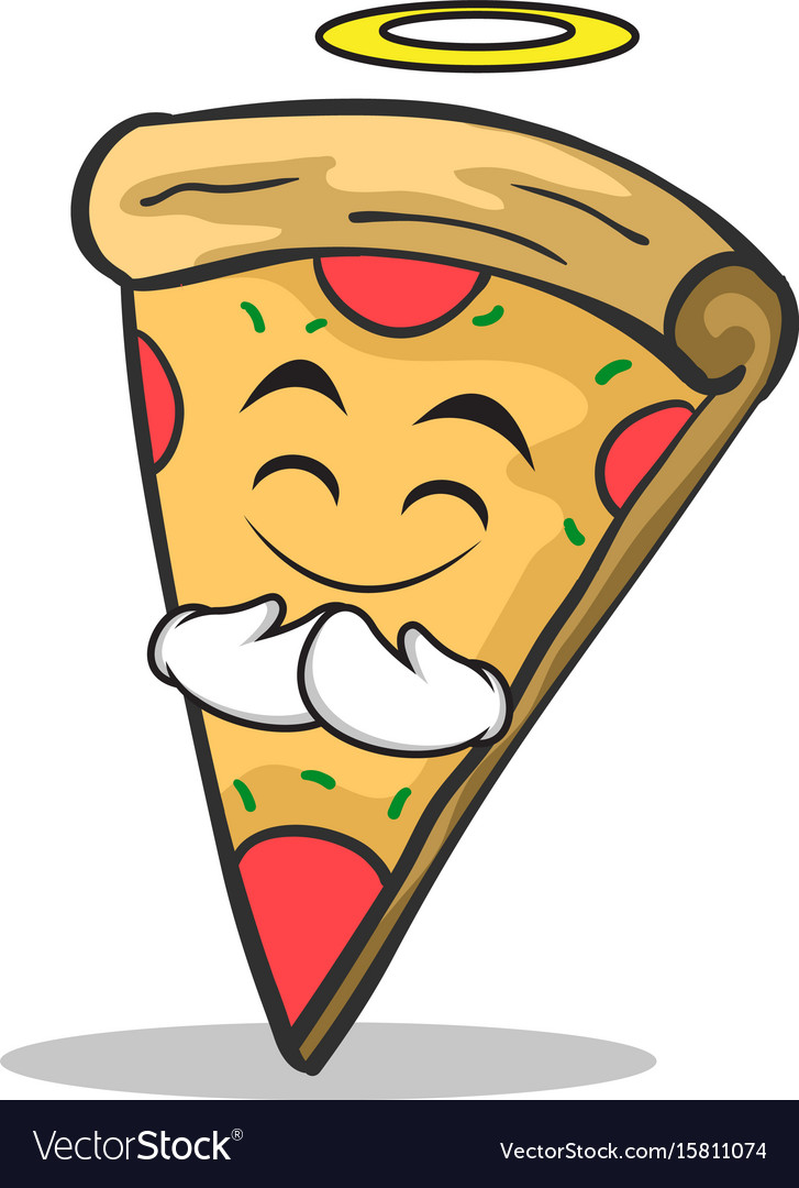 Innocent face pizza character cartoon