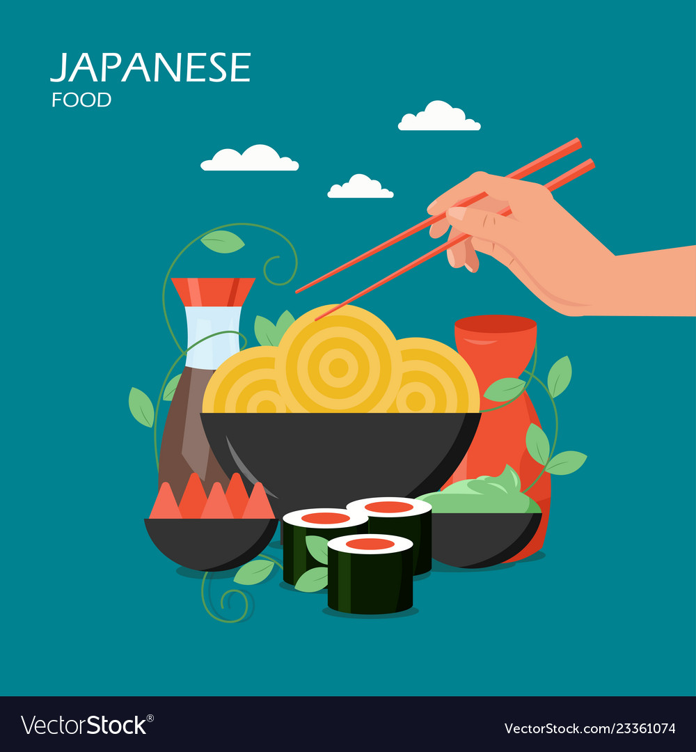 Japanese food flat style design