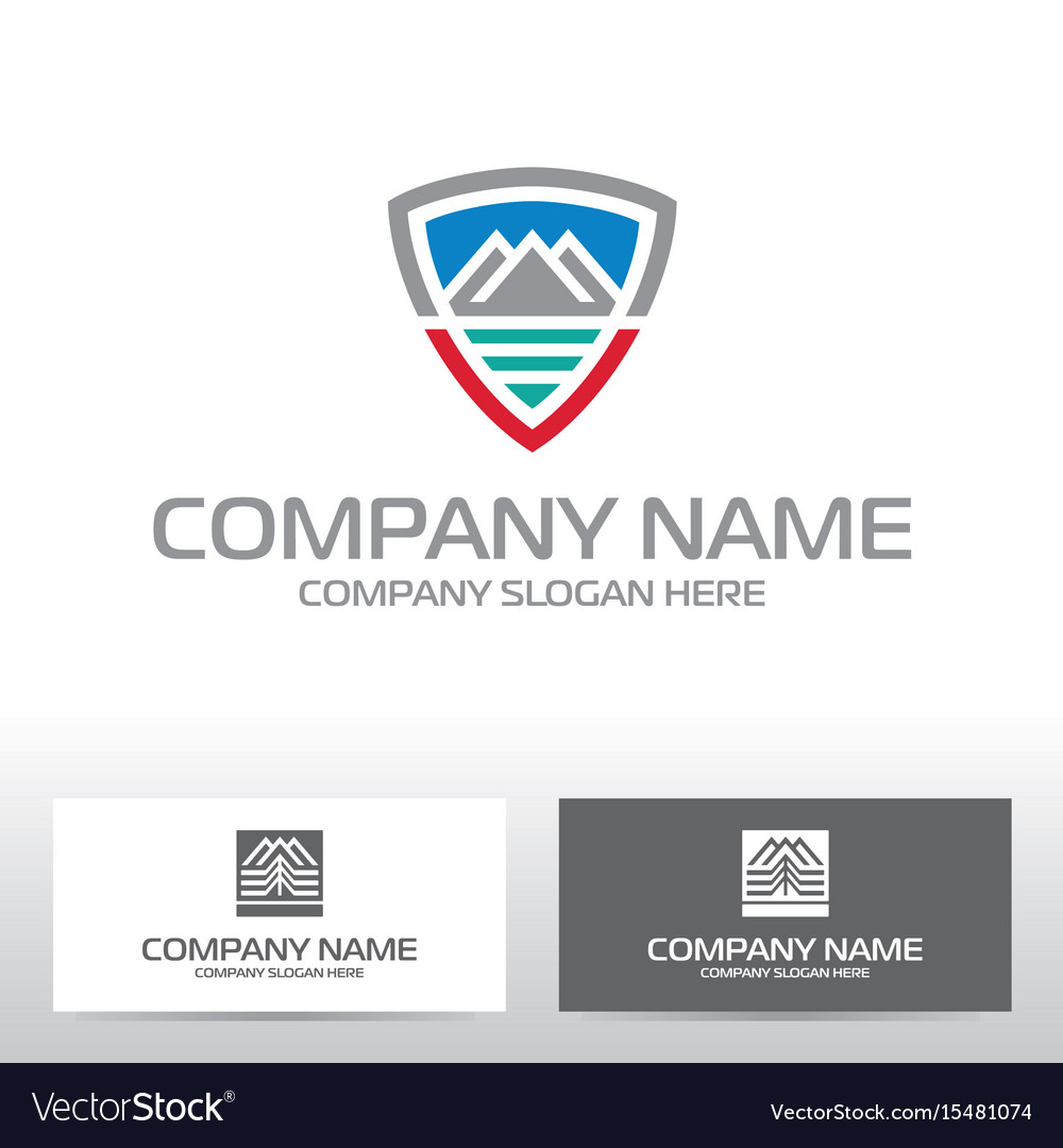Logo design with mountains and river