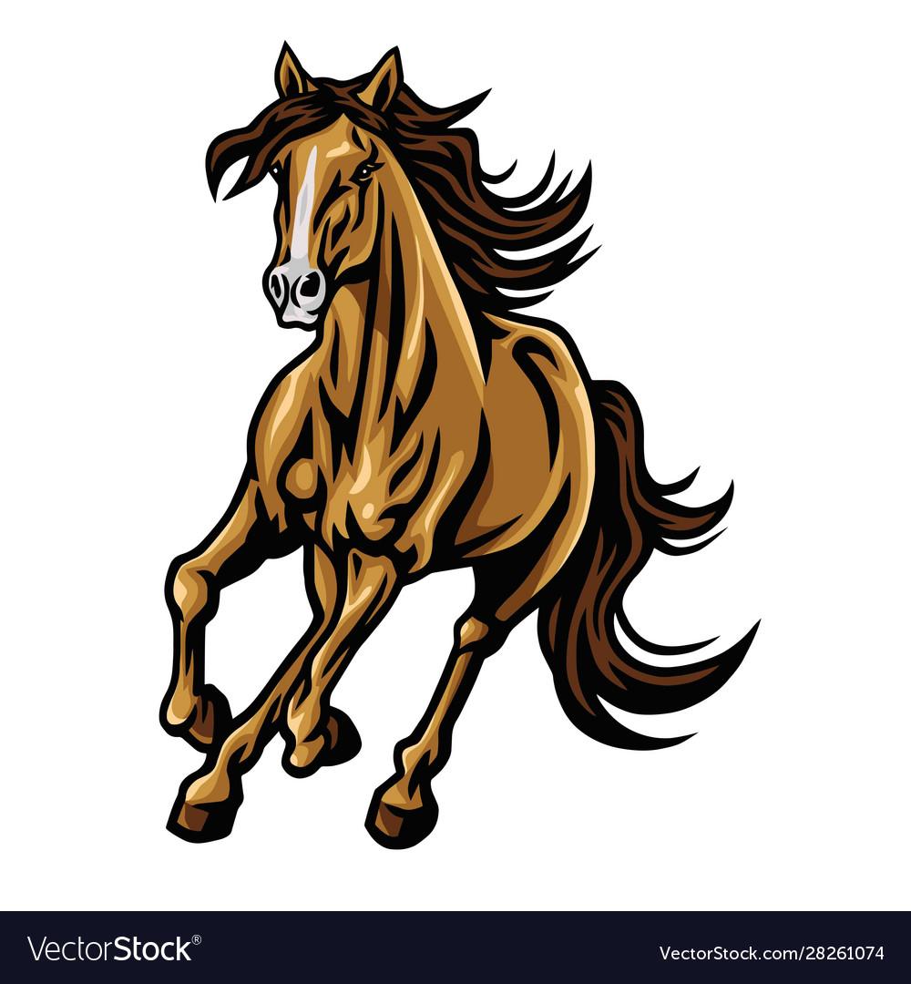 Mustang horse running mascot logo design