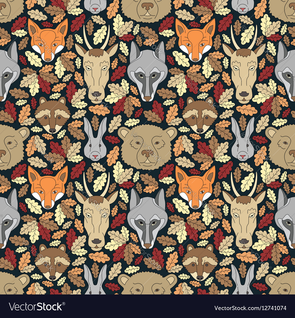 Seamless pattern with animals and leaves