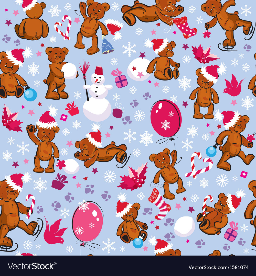 Seamless pattern with teddy bears snowflakes