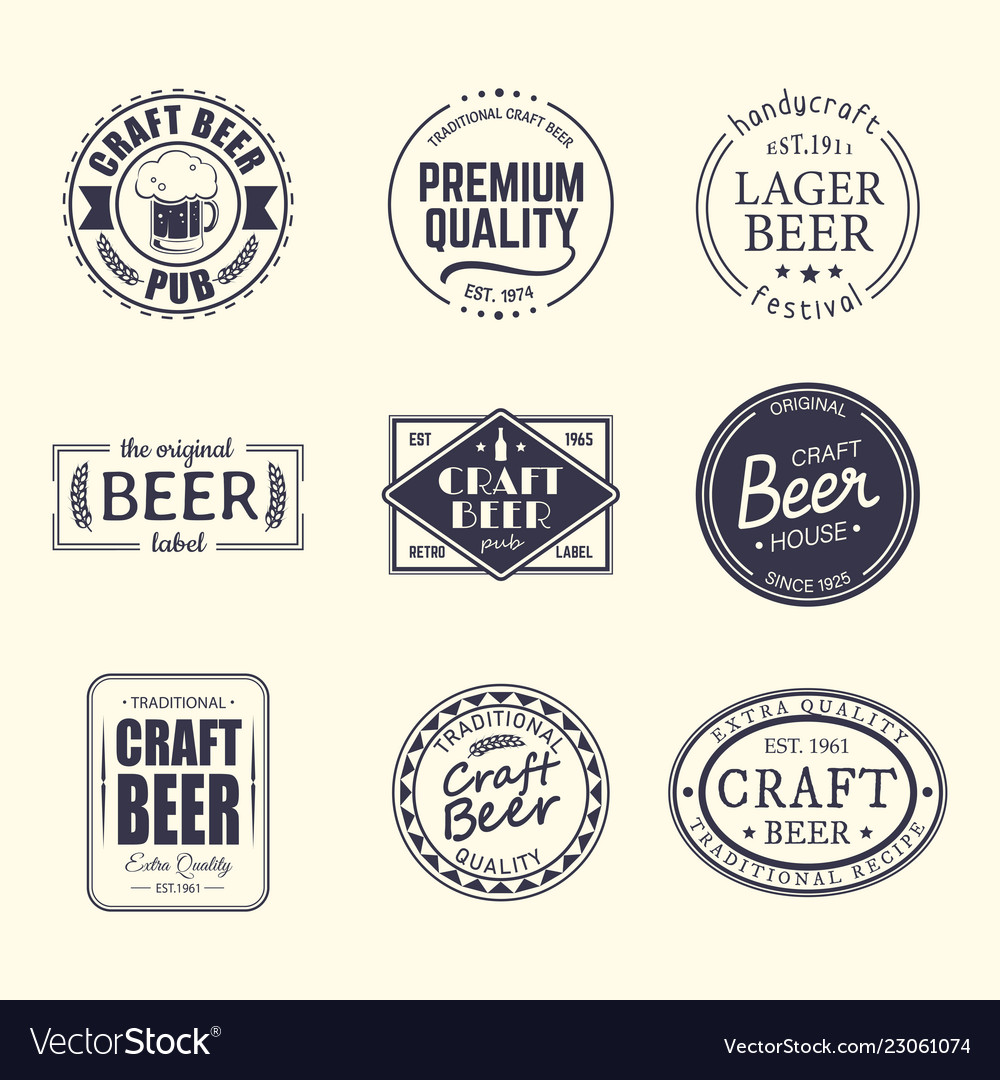 Set of isolated stickers for beer beermatcoaster