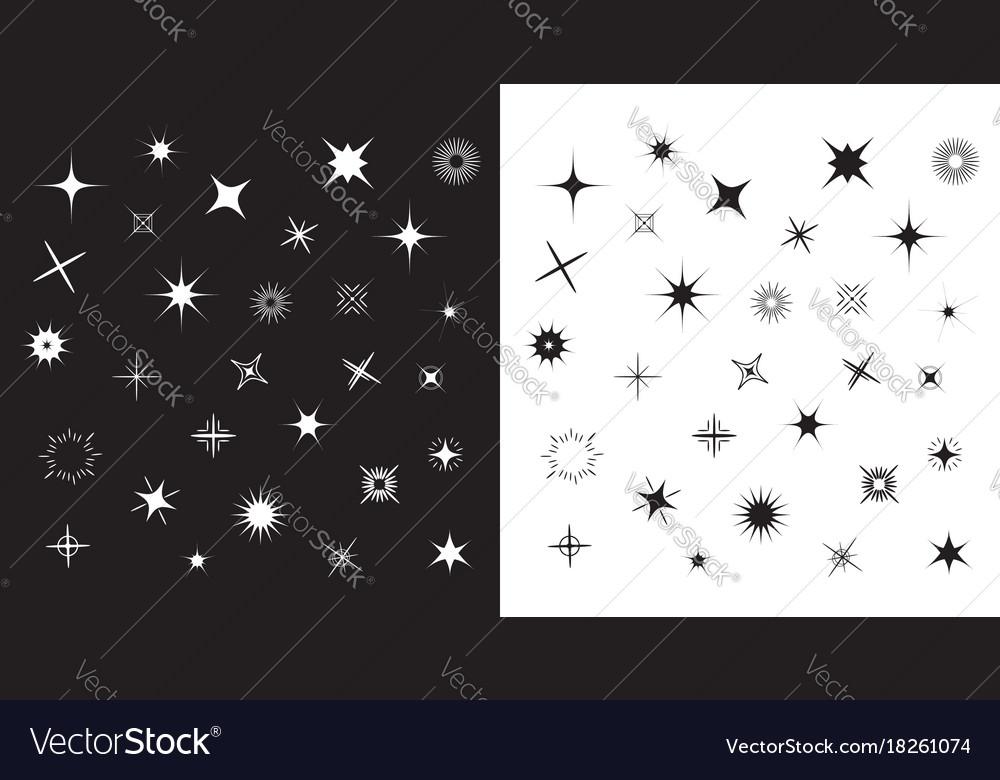 Stars Sparkles Sign Symbol Set Cute Shape Vector Image