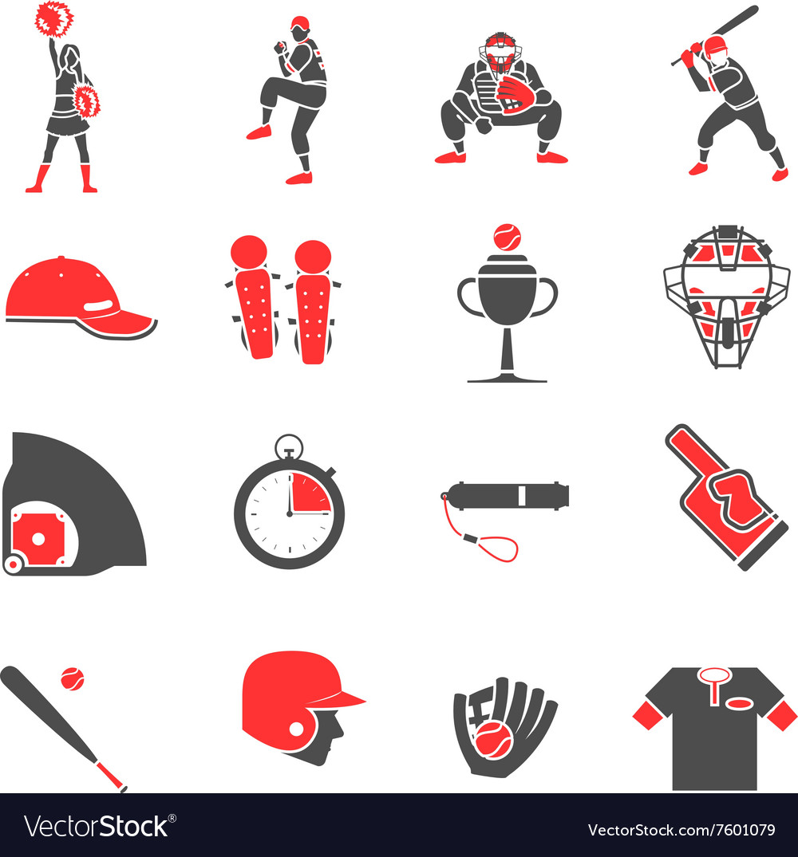 Baseball flat icons set
