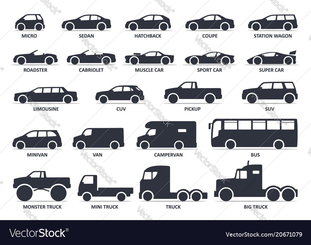 Car type icons set model automobile black