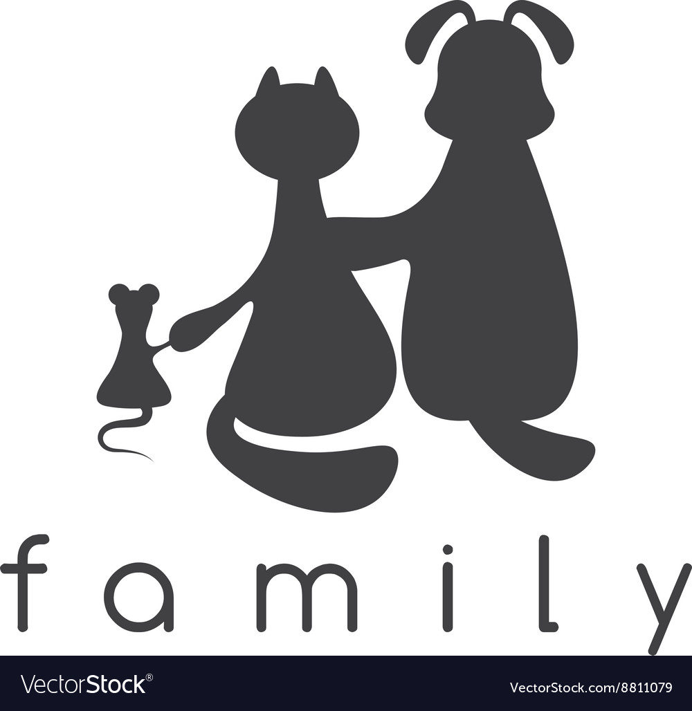 Dog cat and mouse hugging with love vector image
