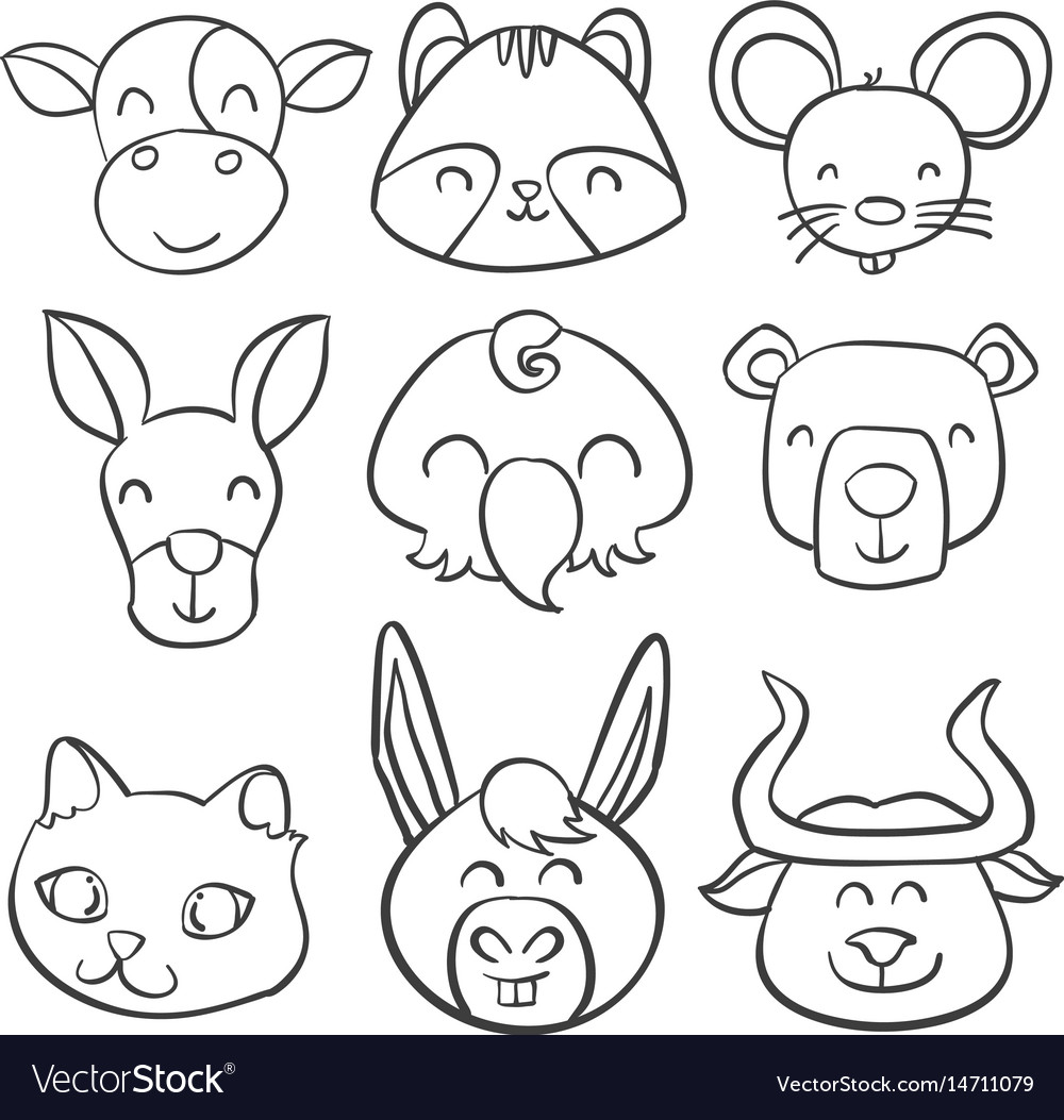 Doodle of animal hand draw style vector image