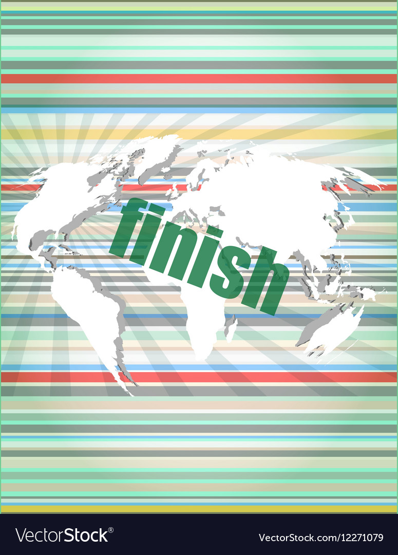 Finish word on digital screen mission control vector image