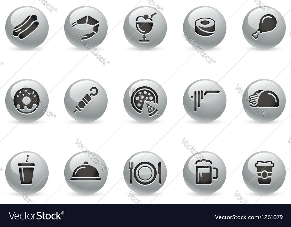 Food Icons 2 MetalRound Series vector image
