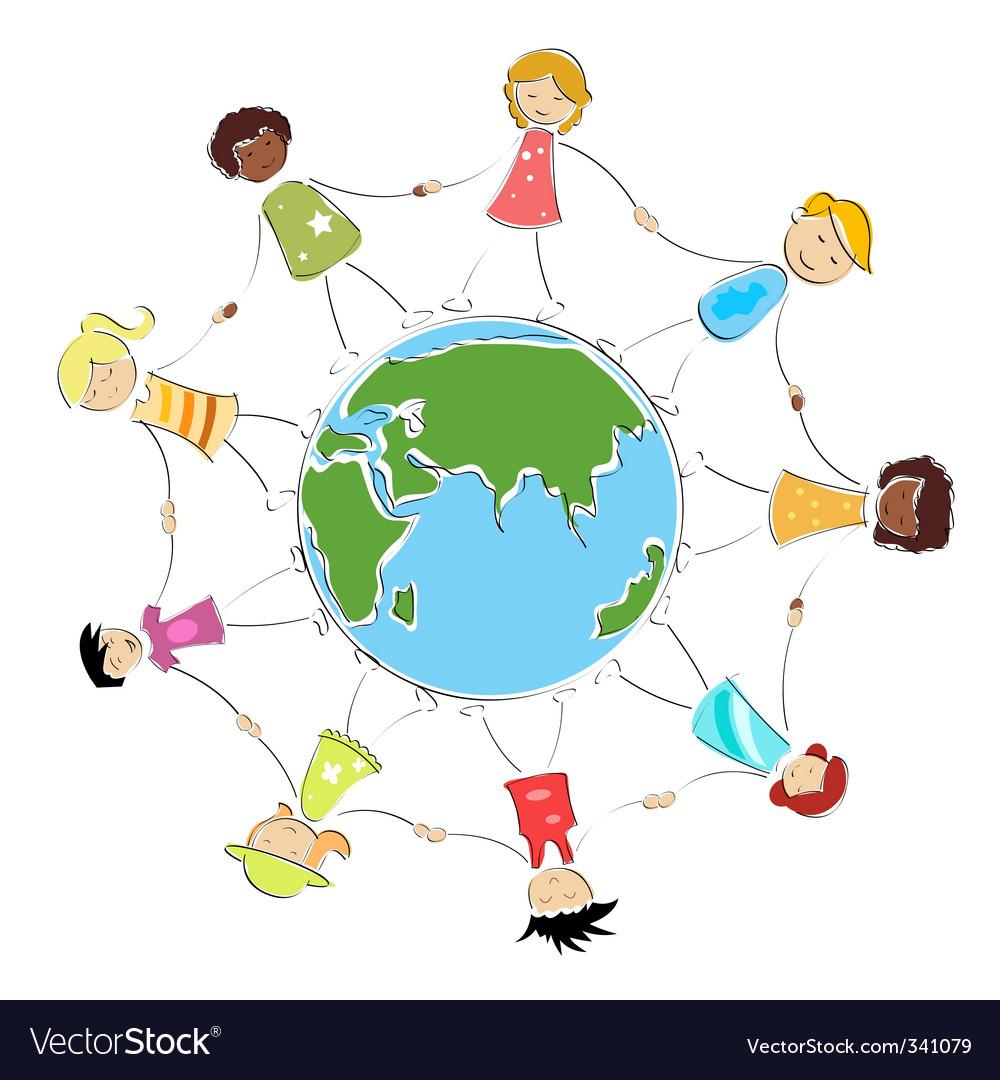 children holding hands vector. Multiracial Kids Holding Hands