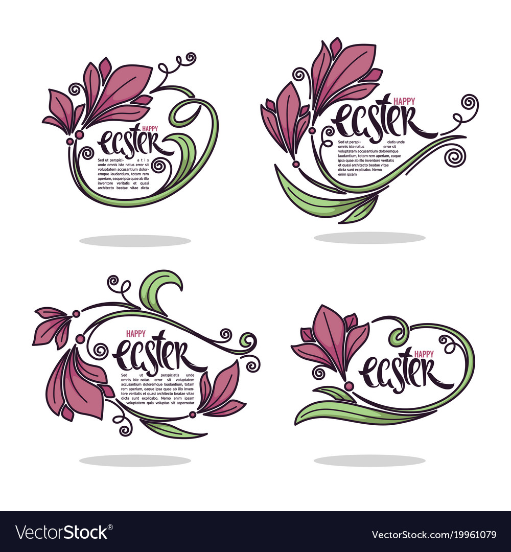 happy easter greeting floral template design vector image