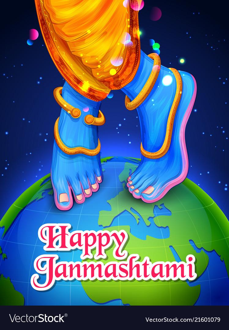 lord krishna in happy janmashtami festival vector 21601079