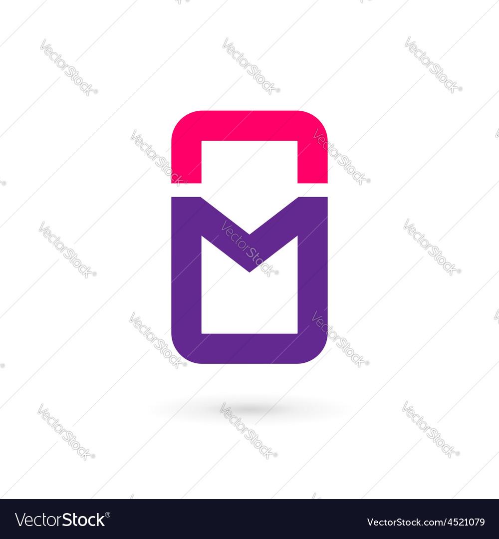 Mobile phone app letter M logo icon design vector image