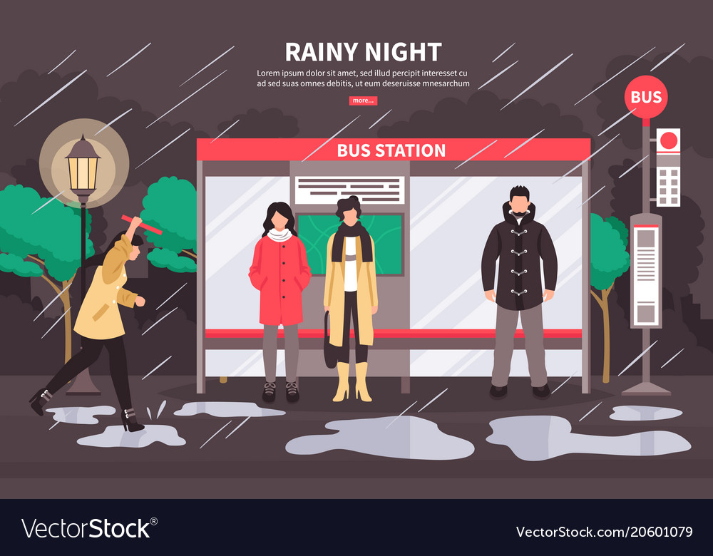 Rainy weather bus stop vector image