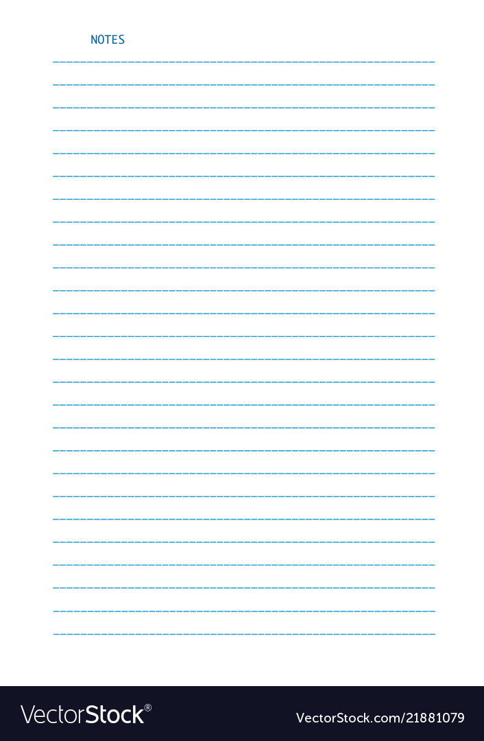 Sheet of lined a4 size paper for notes isolated