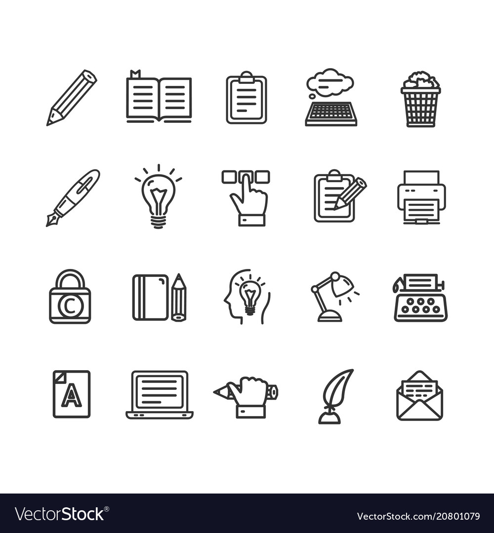 Writer and copywriting signs black thin line icon