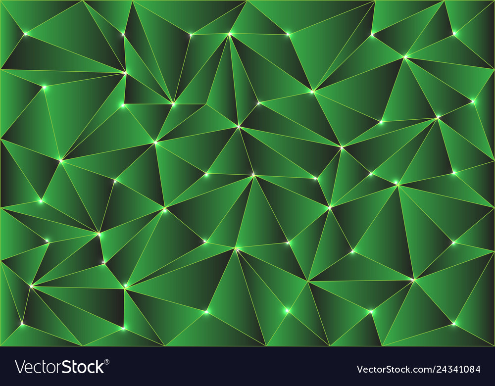 Abstract green glossy polygon pattern