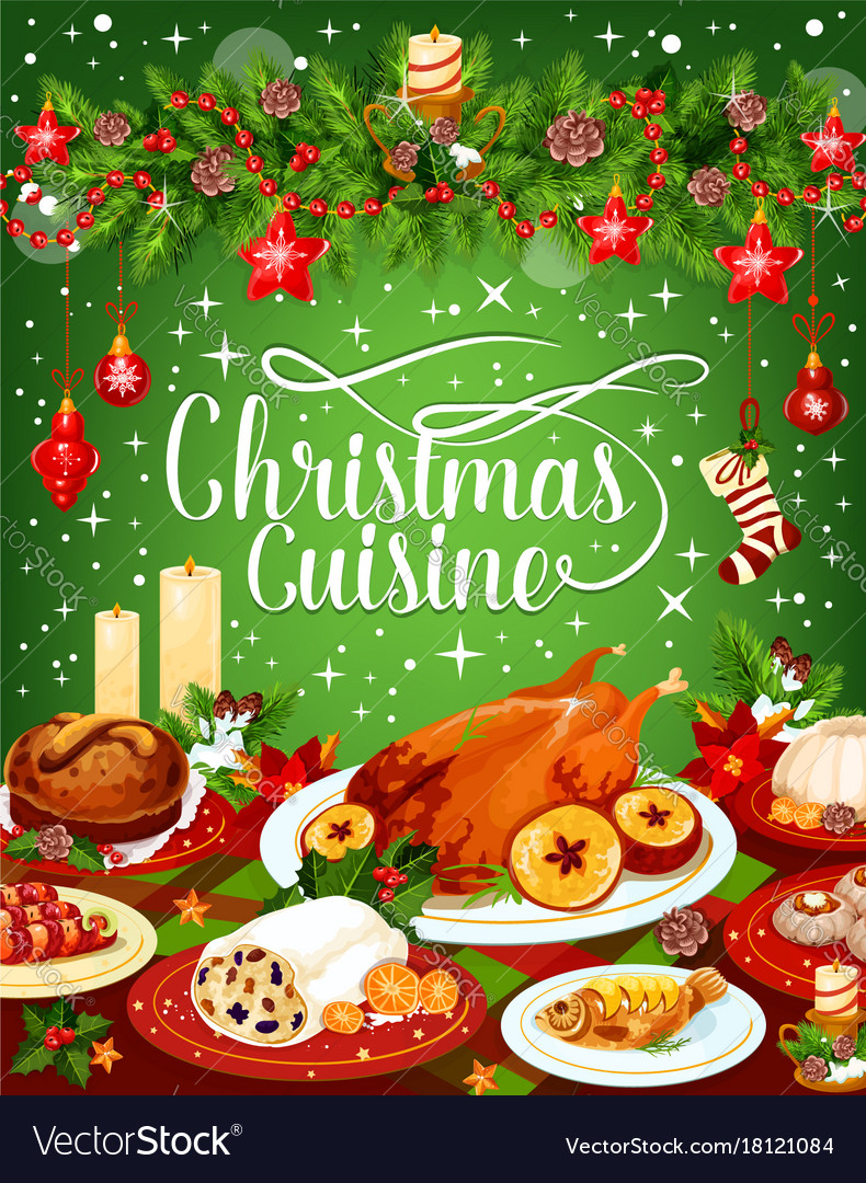 Free Christmas Dinner.Christmas Dinner Cuisine Greeting Card