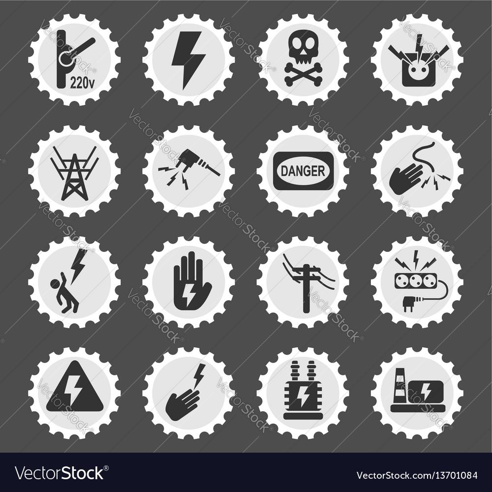 High voltage icon set Royalty Free Vector Image