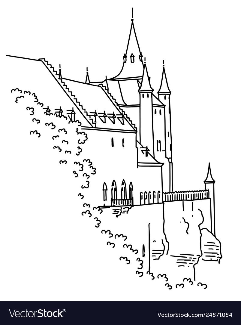 Medieval castle in segovia spain hand-drawn in