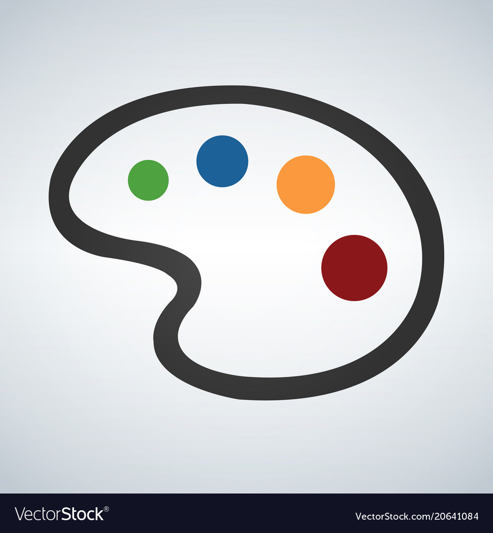 Painting palette flat icon on white background