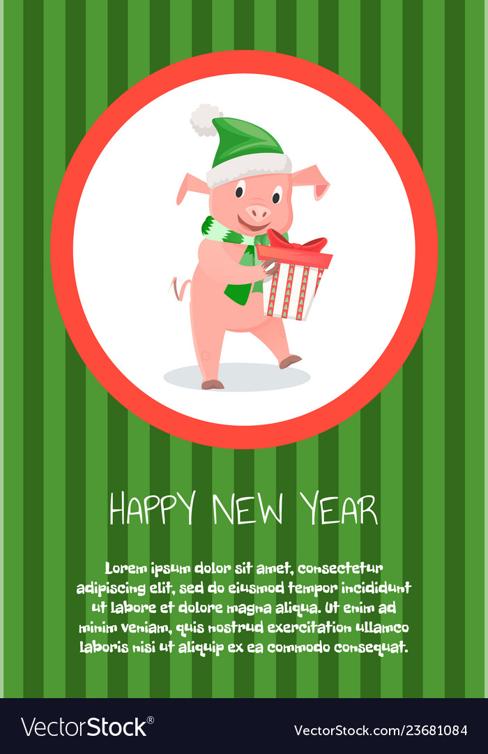 Piglet symbol new year with gift box isolated