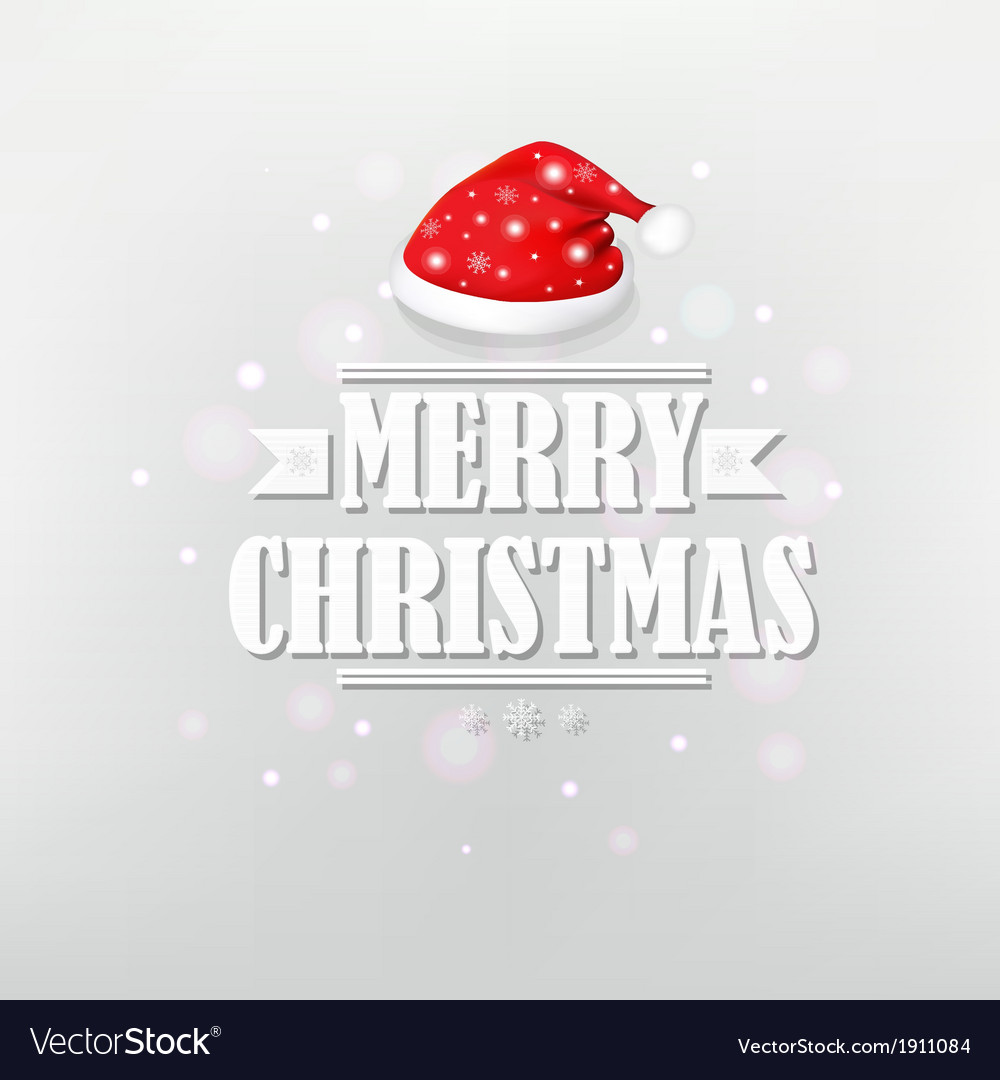 Retro Christmas Poster With Red Santa Cap