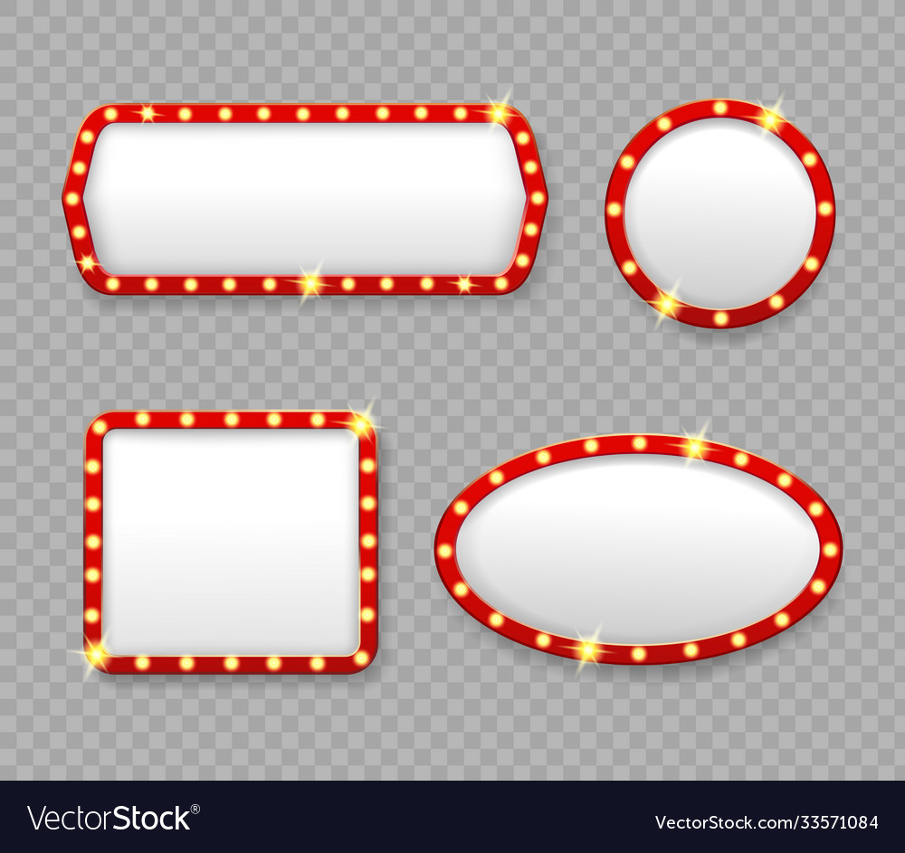 Retro marquee frames with light bulbs banners