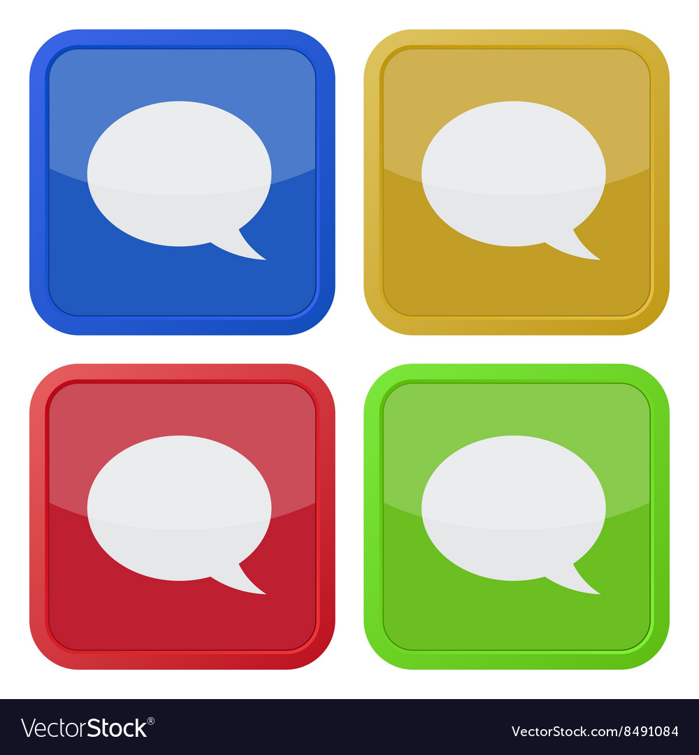 Set of four square icons with speech bubbles