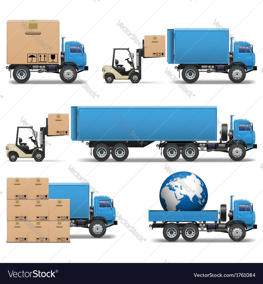 Shipment Trucks Icons Set 2