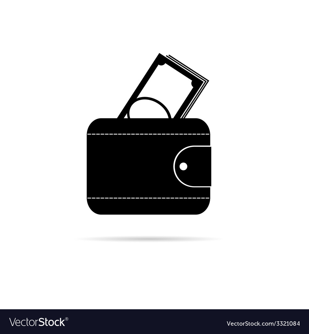 Wallet black and white silhouette vector image