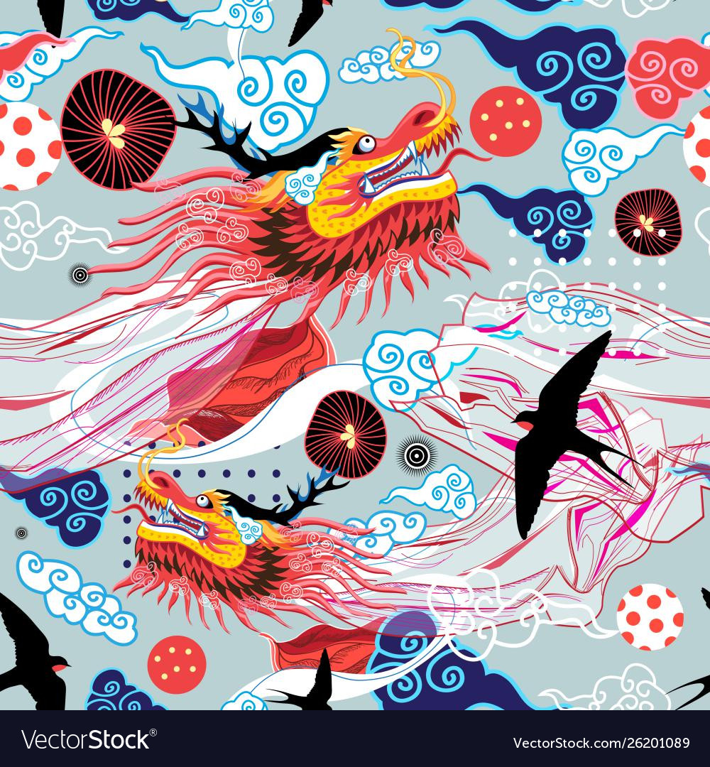 Beautiful bright chinese pattern with dragons