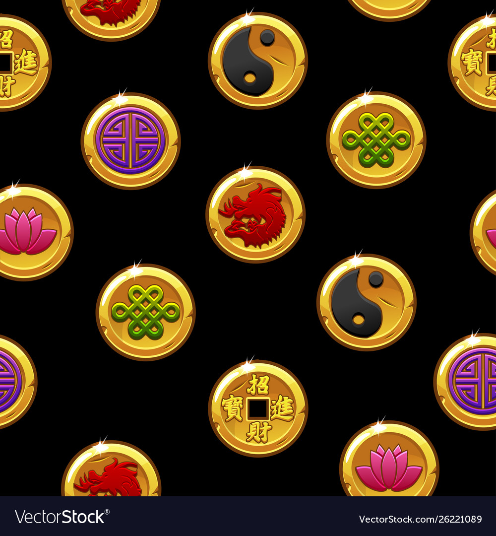 Chinese seamless pattern with traditional coins