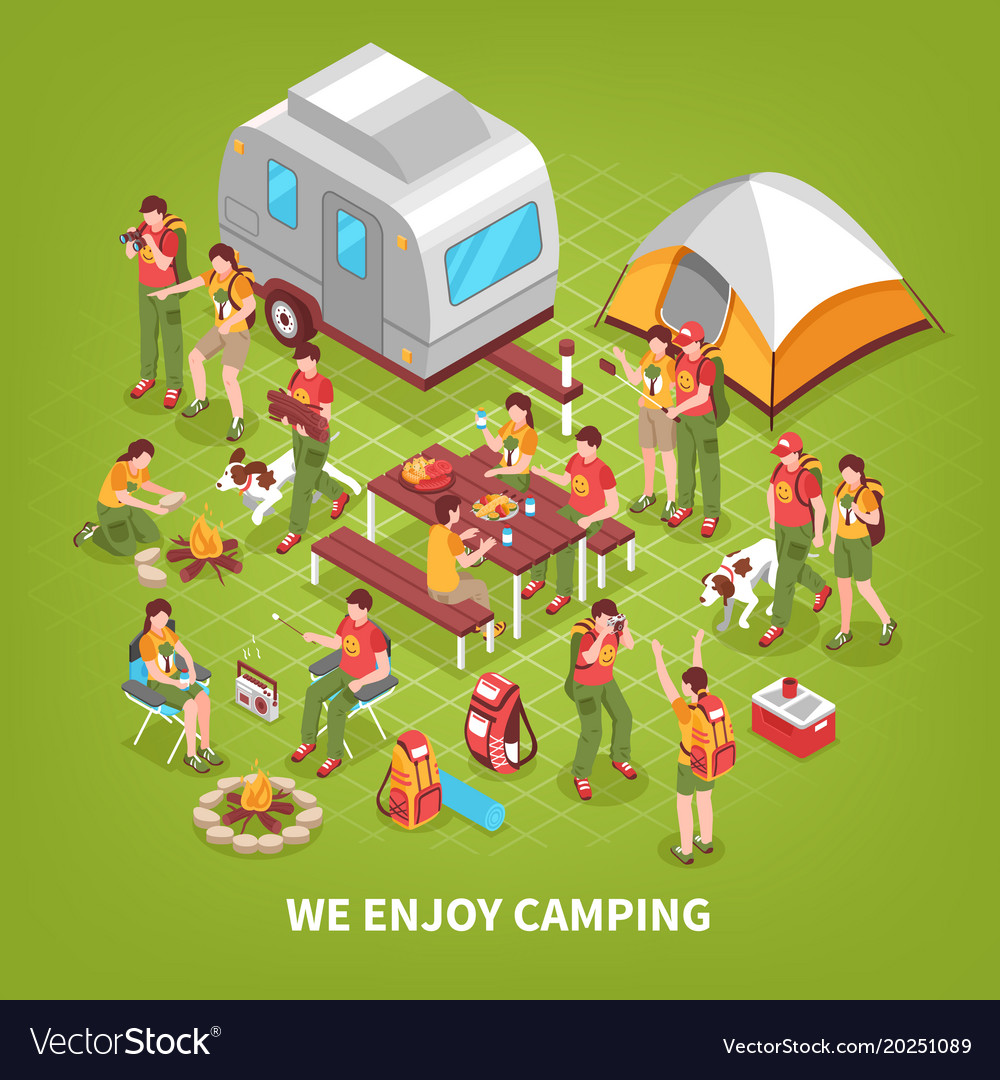 Expedition camping isometric poster
