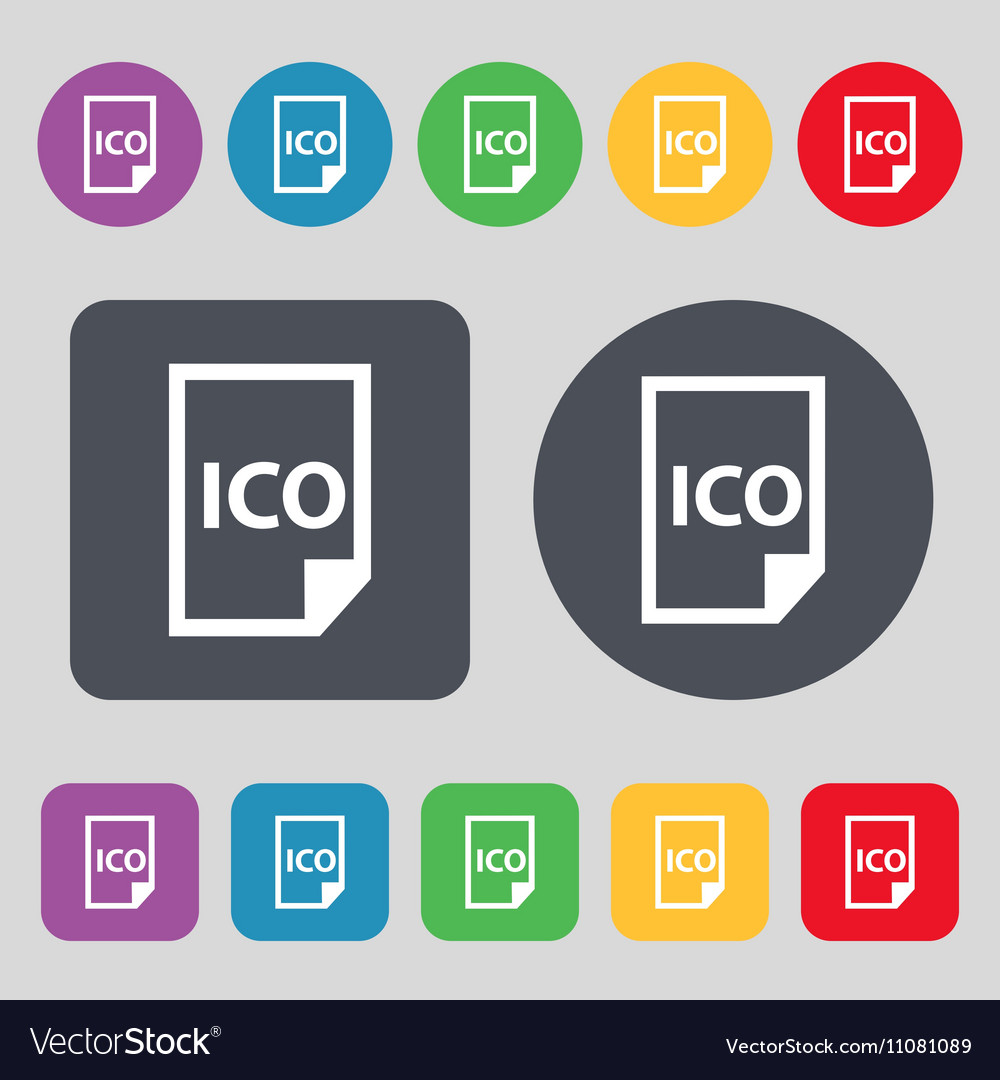 File ico icon sign A set of 12 colored buttons
