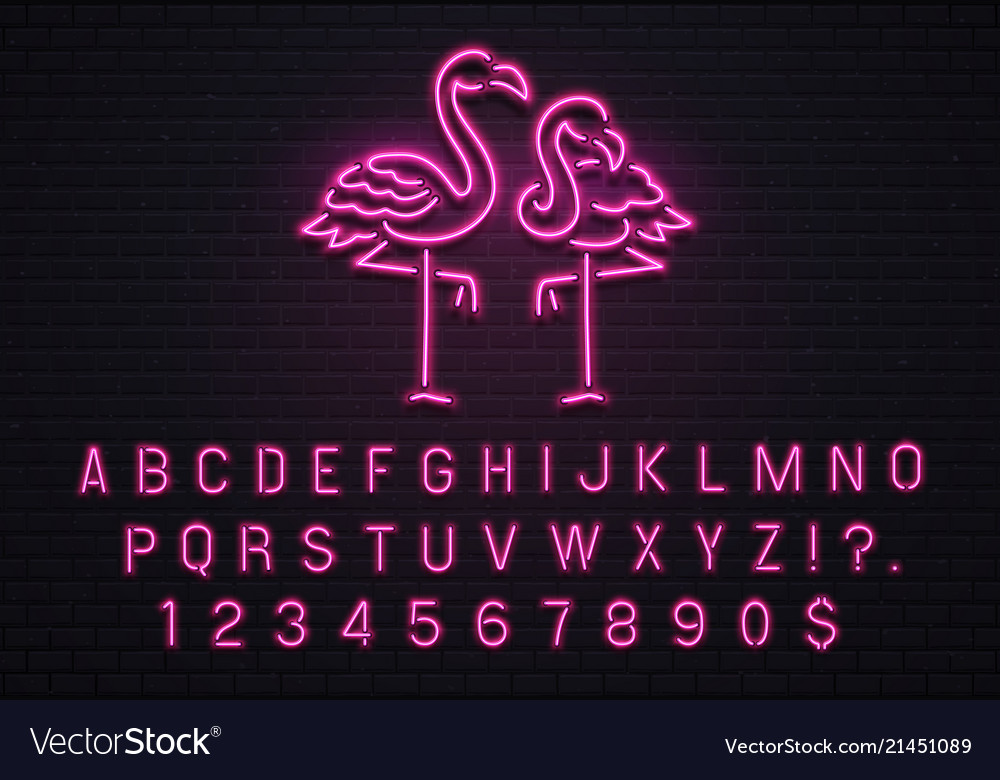 Flamingo neon sign pink 80s font tropical