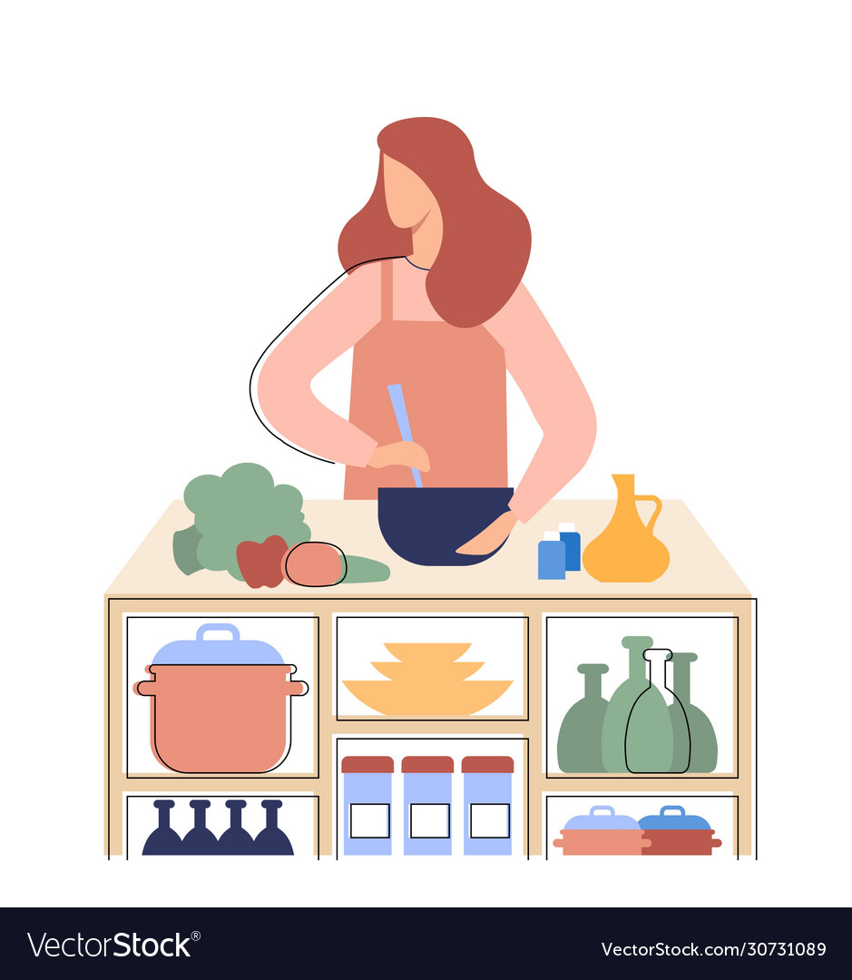 Girl prepares healthy food in kitchen a vector