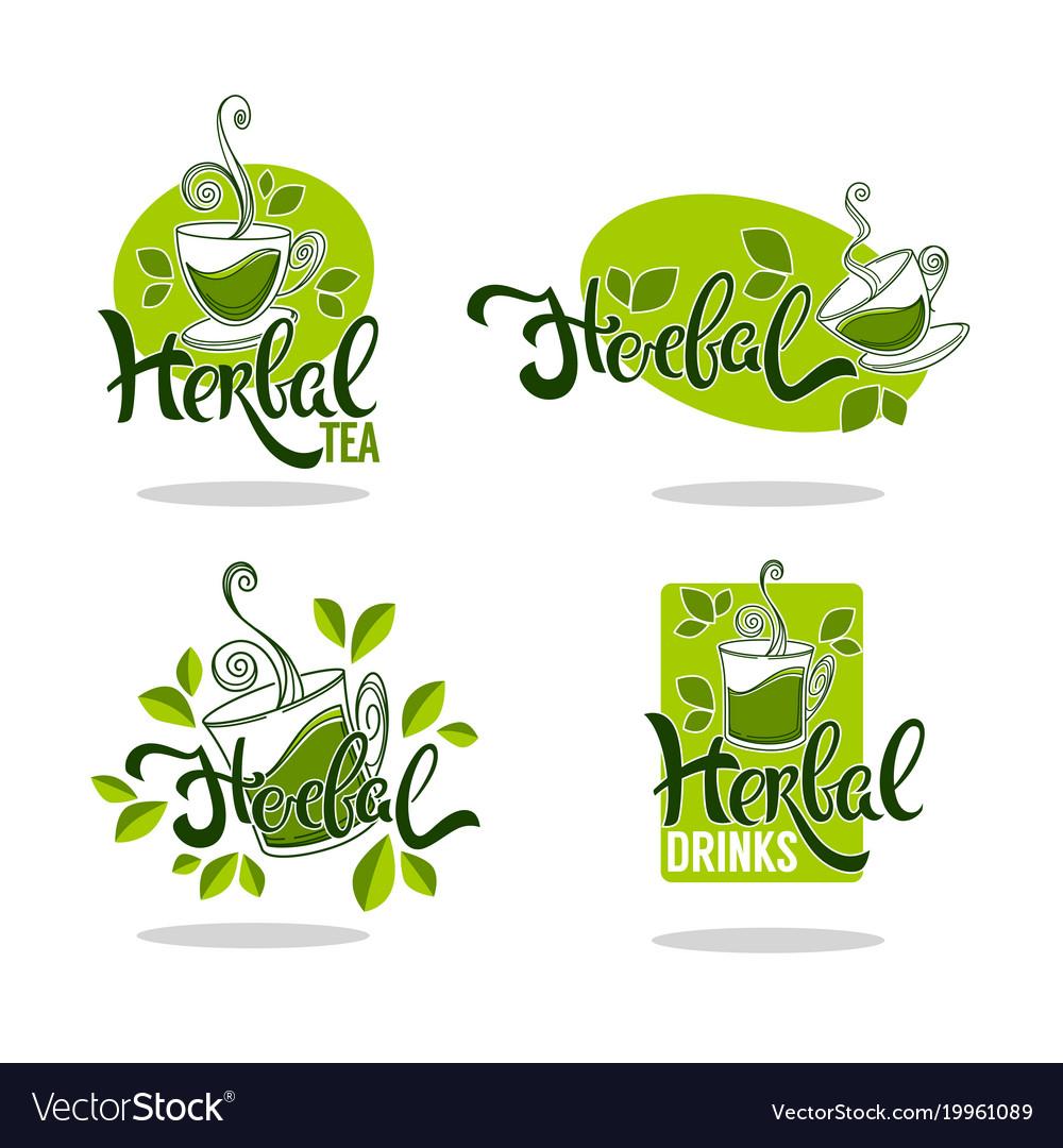 Green and herbal tea collection organic logo
