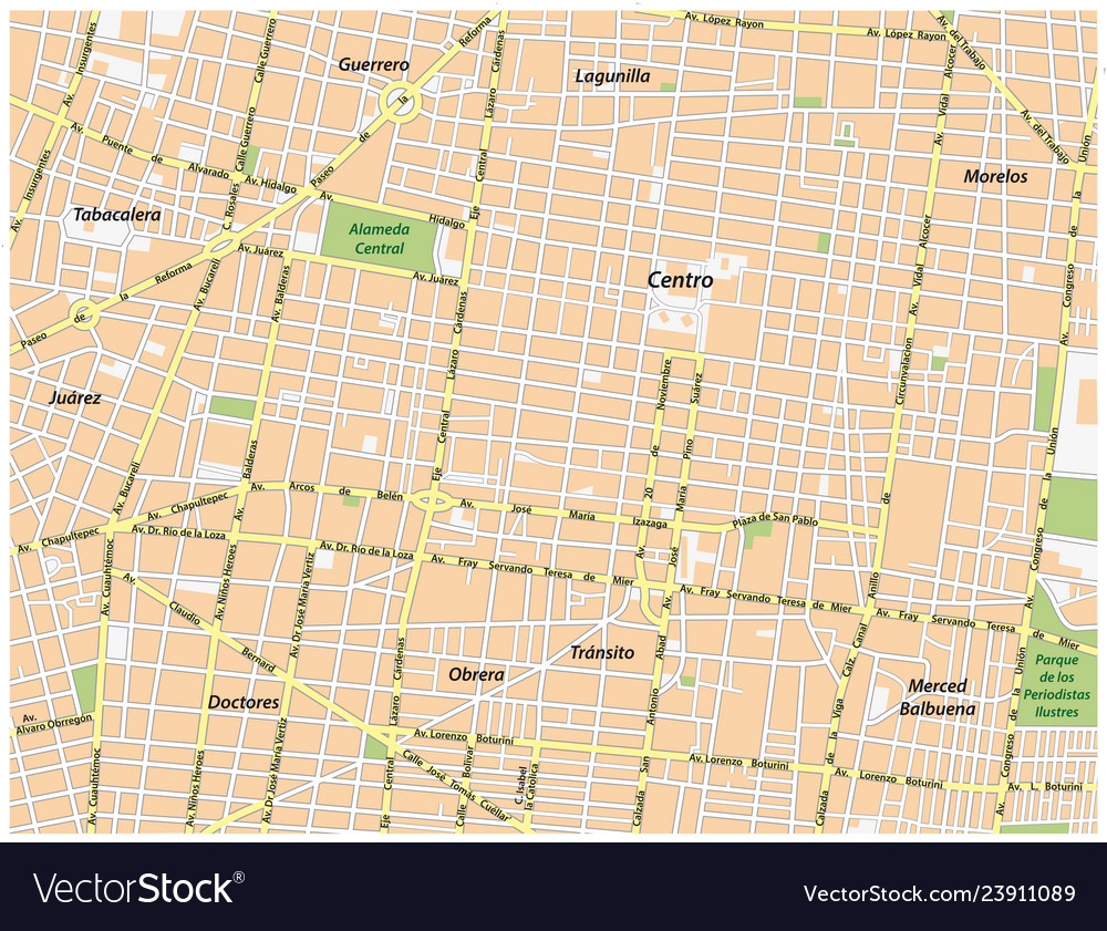 Historic center of mexico city street map