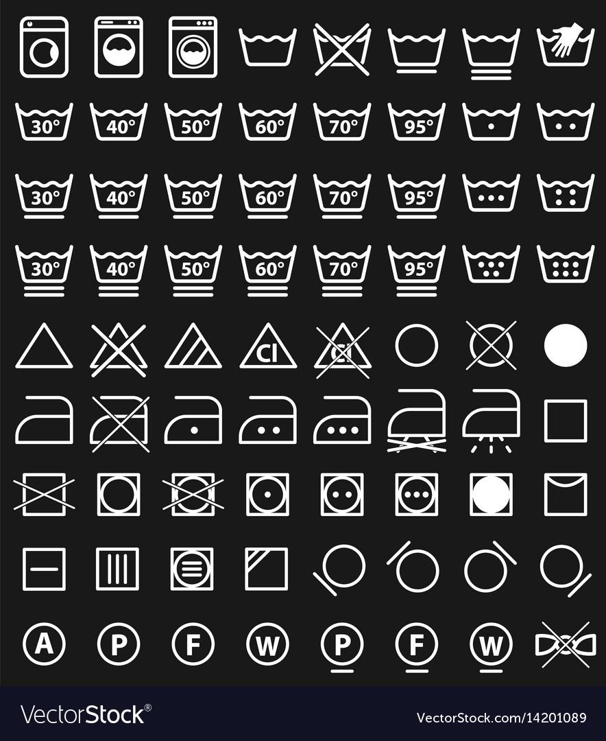 Laundry icons and washing symbols