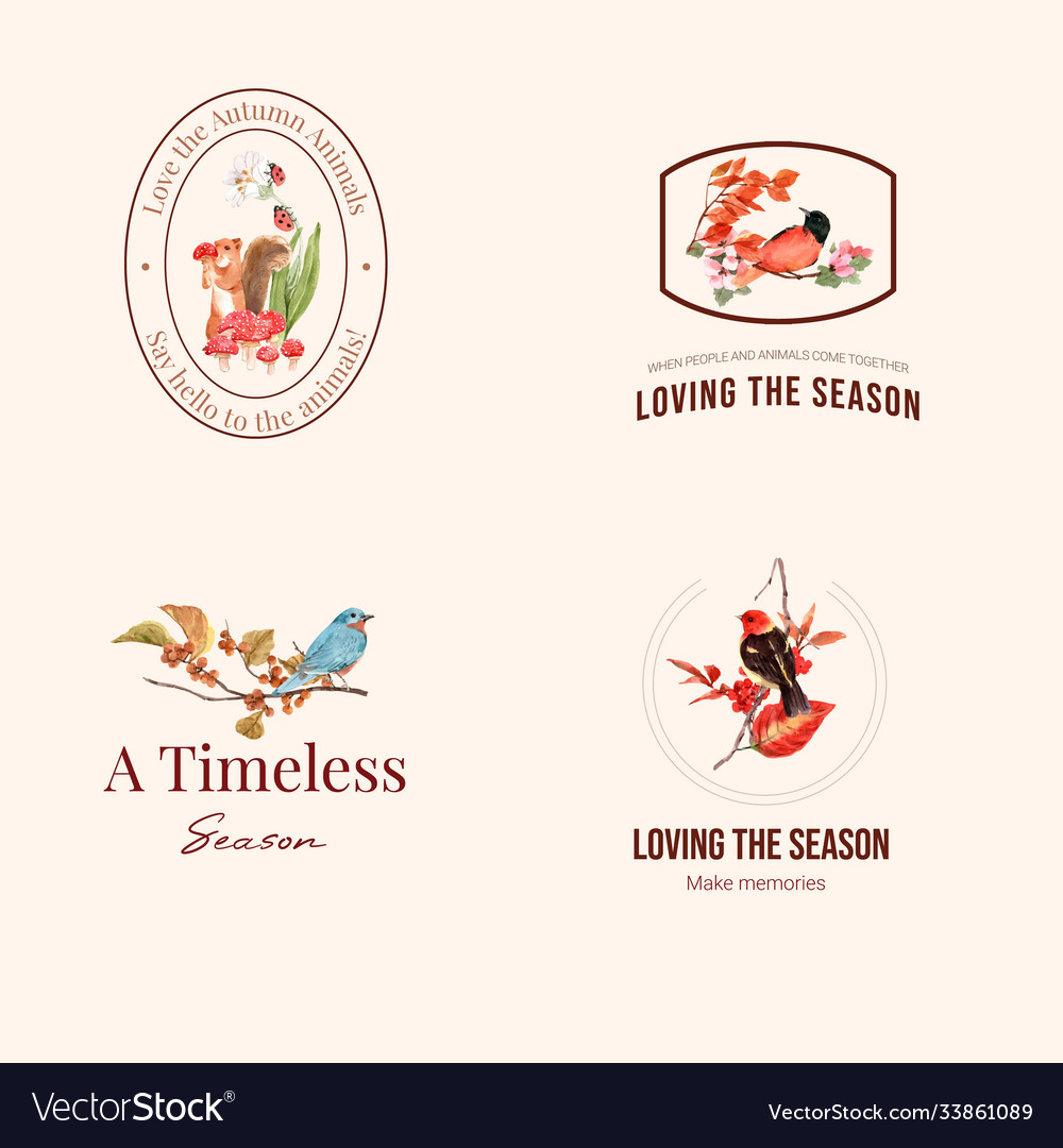 Logo with autumn forest and animals concept