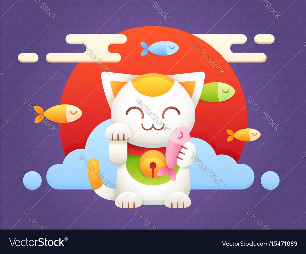 Maneki neko lucky charm flat cat vector image