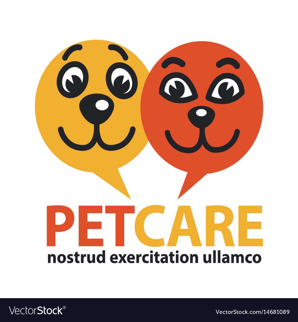 Pat care emblem with dog and cat faces in circles vector image